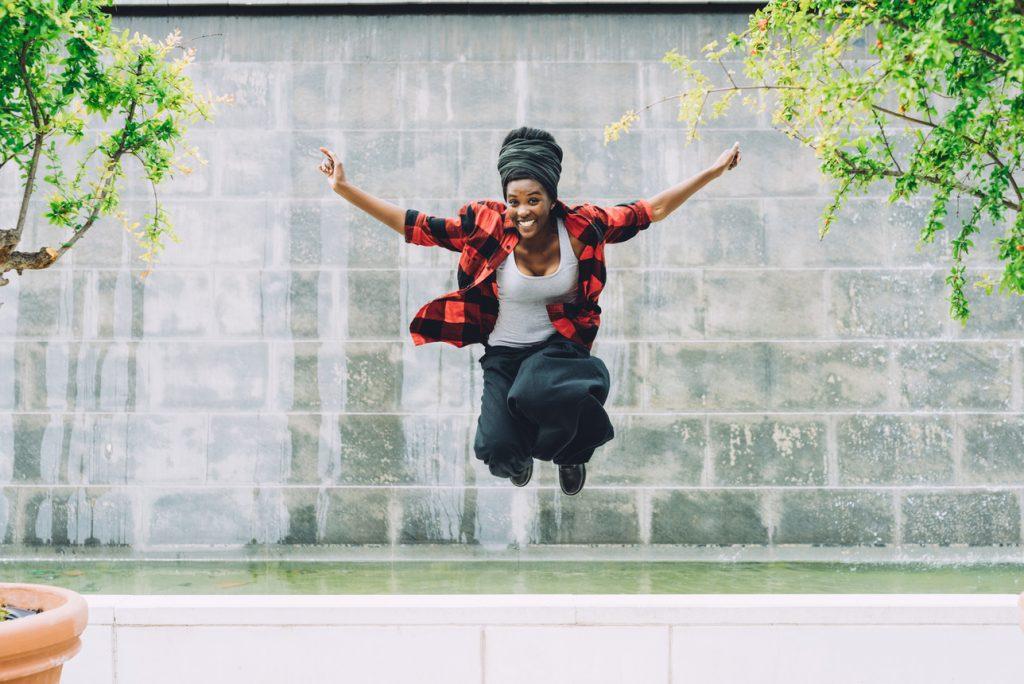 JUMPING BLACK WOMAN